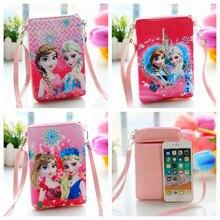Disney Pu cartoon backpack cute Elsa Anna girl snack bag double zipper Messenger bag mobile phone bag frozen