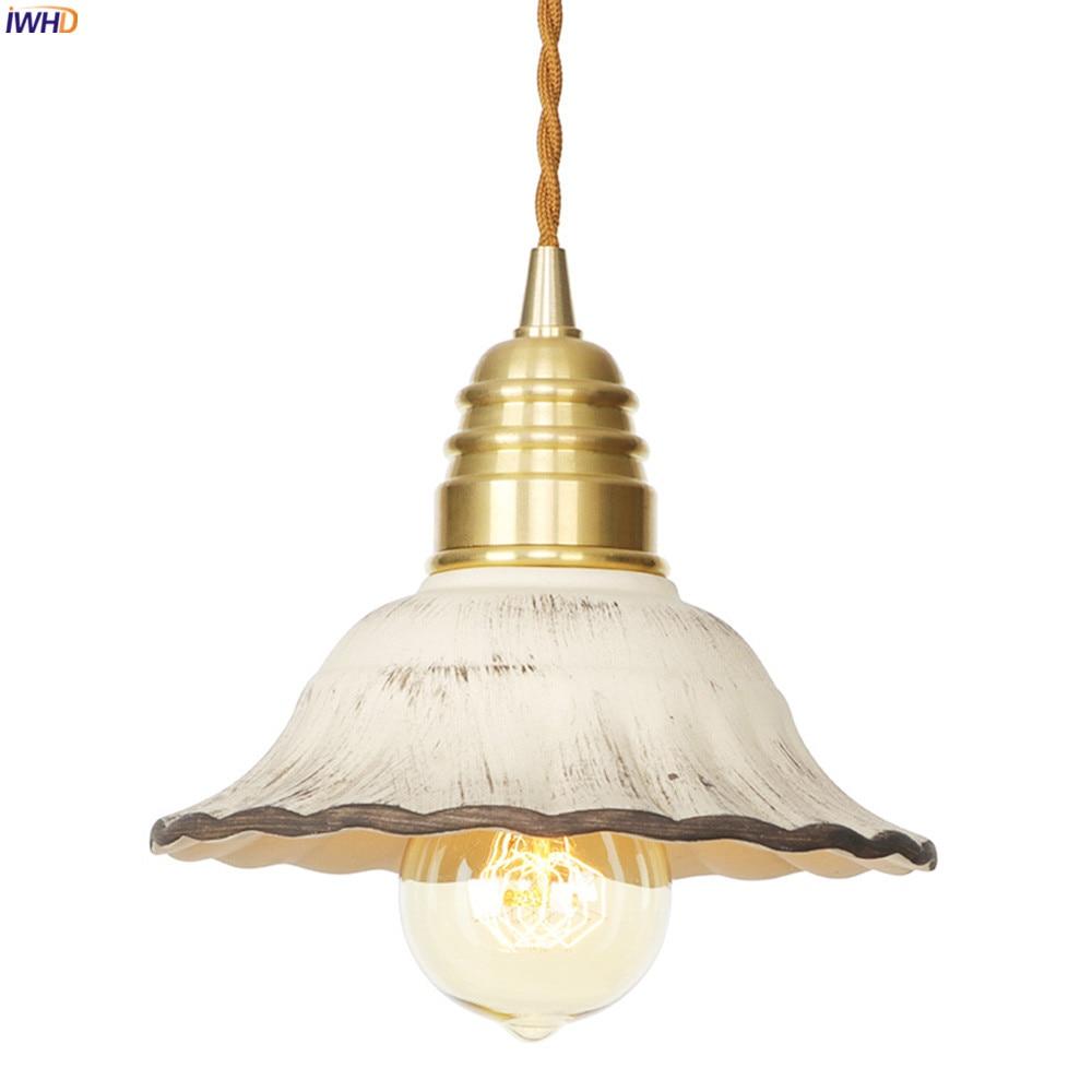 Светодиодный подвесной светильник IWHD в скандинавском японском стиле, лампа для столовой, гостиной, медная лампа для лампочек Эдисона