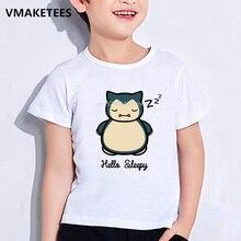 T-shirt dété à manches courtes pour enfants   T-shirt pour filles et garçons, tenue de bébé humoristique avec impression de dessin animé Pokemon Go snilax Nope