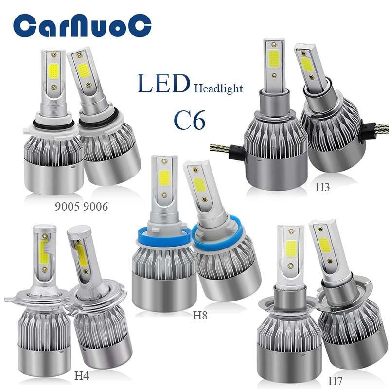 2PCS C6 Car Headlight Bulbs H8 H7 H4 H3 9005 9006 Auto Lamps Fog Lights For Hyundai ix35 iX45 iX25 i30 Sonata Verna