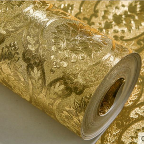 ورق حائط ذهبي كلاسيكي فاخر لفة لغرفة النوم غرفة المعيشة الإغاثة الدمشقي ورق حائط بريق خلفيات الذهب احباط papel de parede