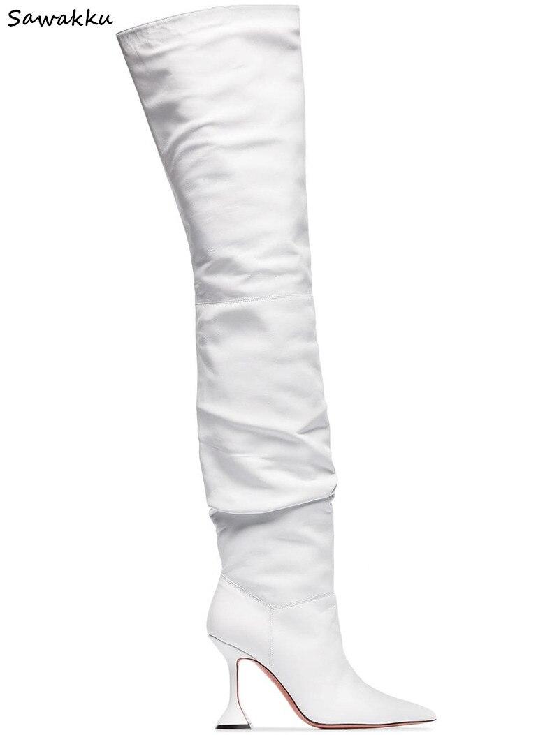 Nueva moda Zapatos de pasarela para Mujer Botas altas hasta el muslo de cuero blanco puntiagudas tacones de estilo extraño primavera otoño Botas largas para Mujer