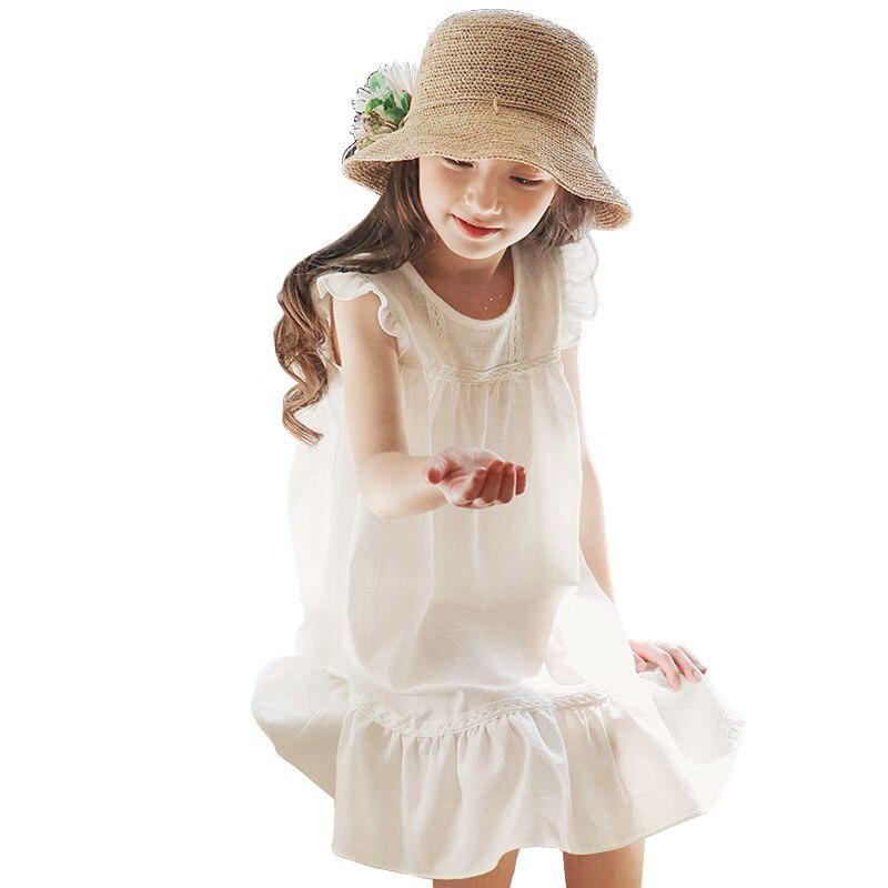 6 - 14 yrs big girls summer cotton sleeveless white dress elegant birthday party kids clothes teenage loose chiffon ruffle dress