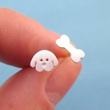 Daisies Cartoon Puppy Dog Face and Bone Shaped Stud Earrings Animal Jewelry For Birthday Party Gift