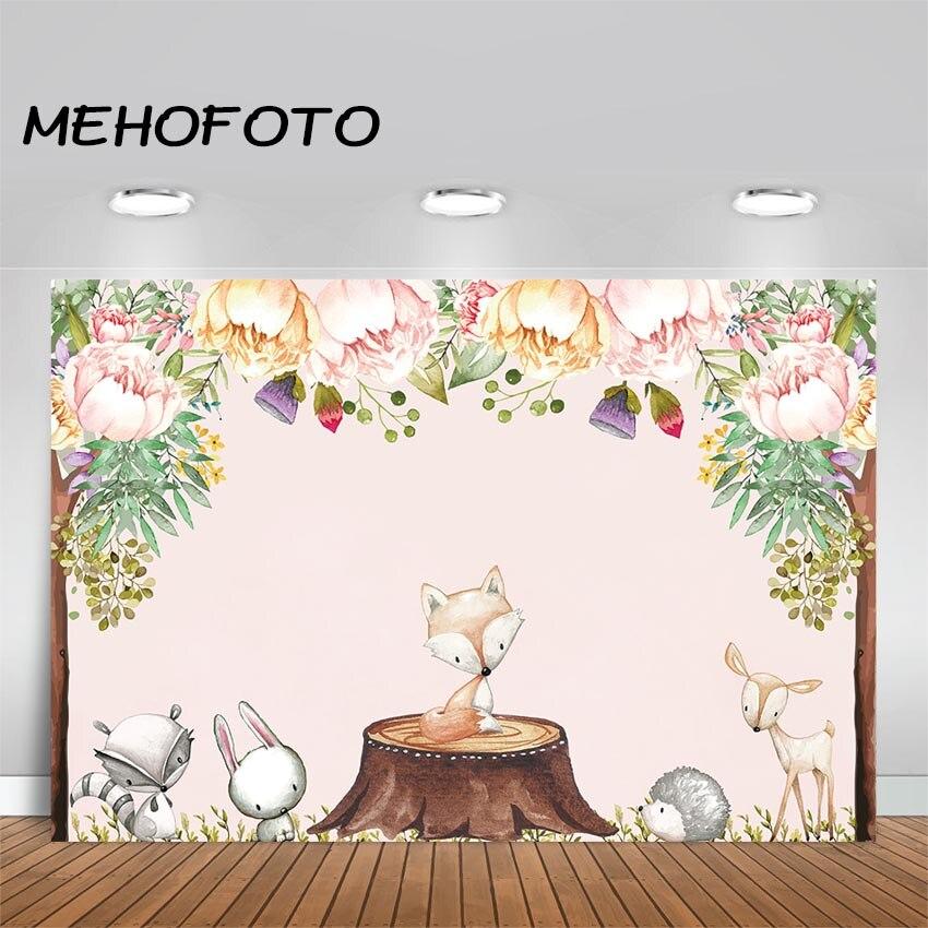 MEHOFOTO Boho tema bosque Floral telón de fondo bohemios animales banderines para fiesta de cumpleaños fotografía de fondo Baby Shower Backdrops