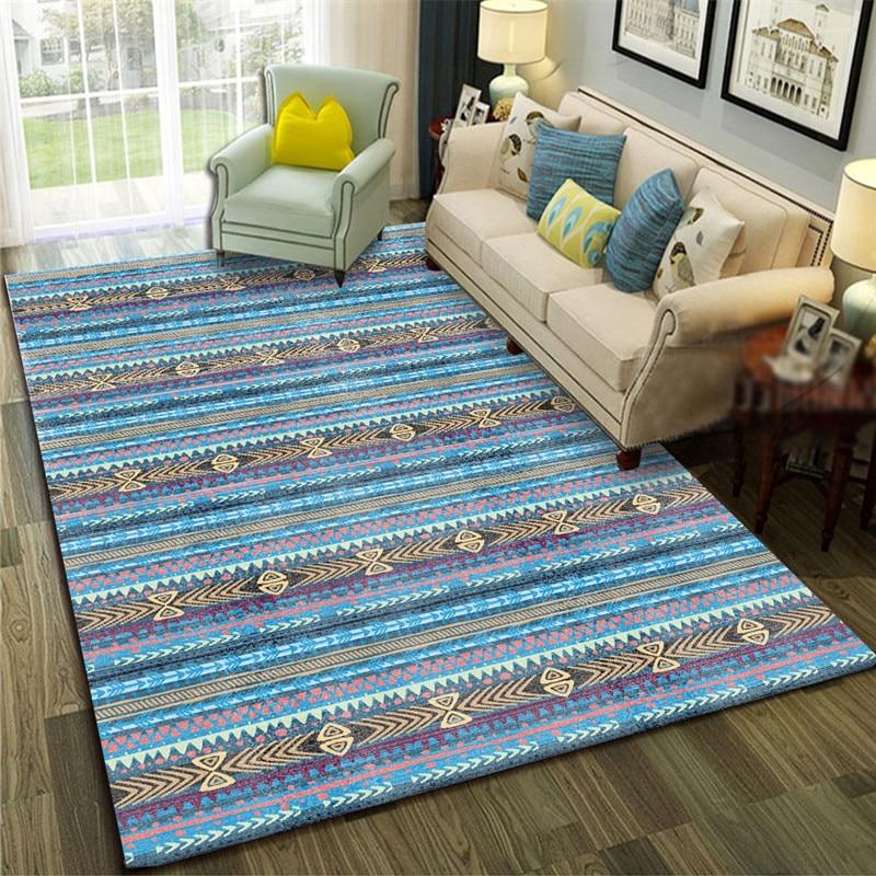 Azul mediterrâneo arte tapete para sala de estar quarto antiderrapante tapete geométrico moda cozinha área tapetes