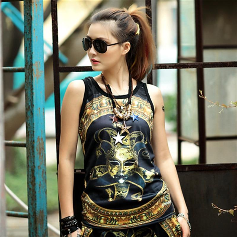 just.be.never women summer hip hop tank tops vintage clown printed black kawaii harajuku stylish vest cotton casual tight tops