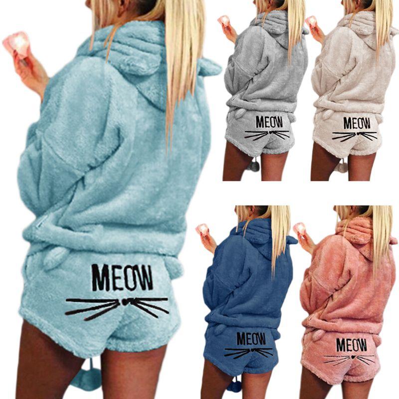 Las mujeres de talla grande de invierno pijamas gruesas conjunto lindo gato Miau corto bordado pantalones de manga larga con capucha orejas sudadera caliente S