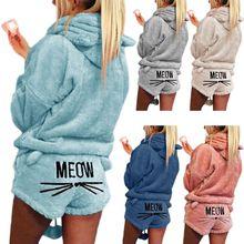 Femmes filles grande taille hiver épais pyjamas ensemble mignon chat miaou brodé court pantalon à manches longues à capuche oreilles sweat chaud S