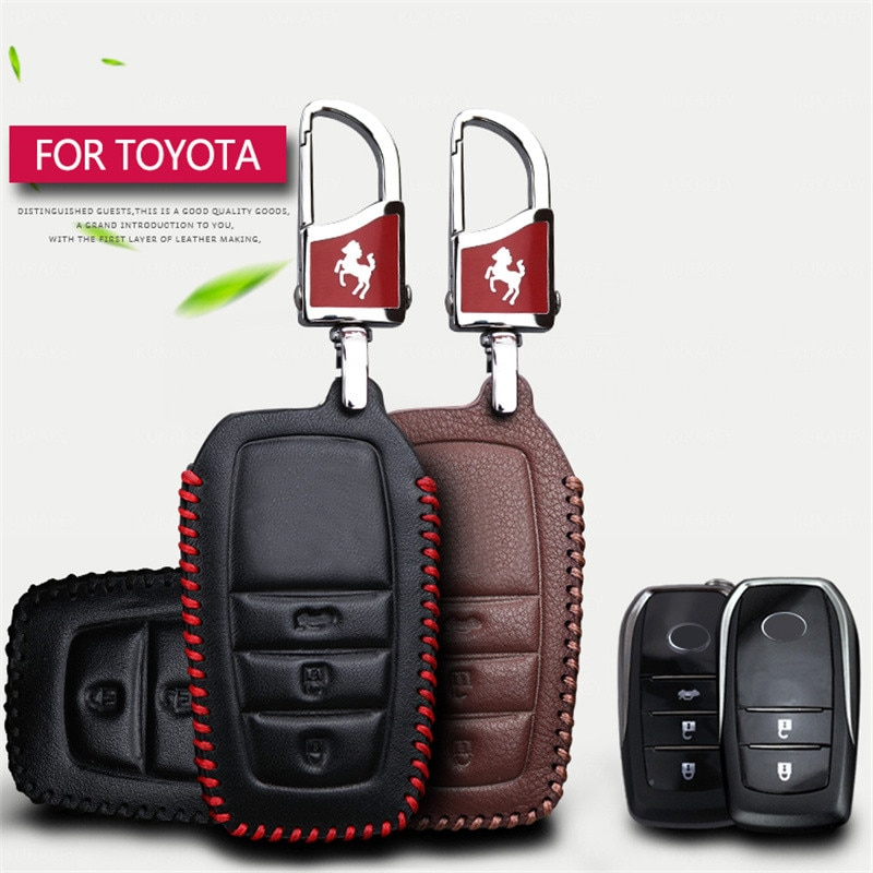 For Toyota Key Cover Genuine Leather Car Key Chain Case For Toyota C-hr Auris Corolla Land Cruiser Prado 150 Avensis Key Holder