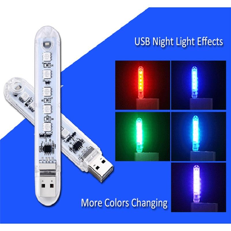 AliExpress - LED Night Light Mini USB Book Lights 5 leds Portable Book Light RGB 5050 5V For PC Laptops Computer Mobile Power Reading Lamp
