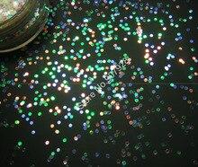 Brillo de uñas de 1mm de forma redonda de Color blanco iridiscente con tintes coloridos en polvo para uñas acrílicas, esmalte de uñas de gel y maquillaje