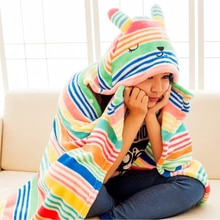 1.7*0.9m Cute Rainbow Rabbit Cape Lazy Blanket, Cartoon Bunny Plush Toy Blanket, Cosplay Cloak Air Blankets, Birthday Gift