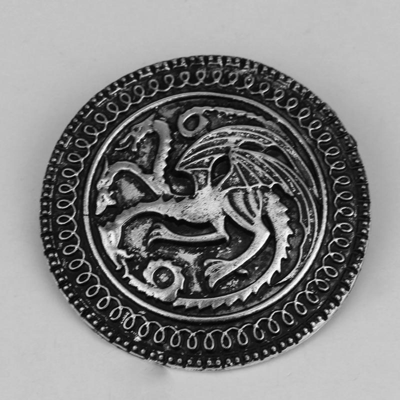 Broches de dragón de escudo de la familia Game Of Throne para hombres, broche de solapa para camisa