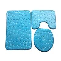 three pieces embossed flannel bathroom mat set water absorbent u shape bathtub toilet mats carpets rugs toilet seat lid cover