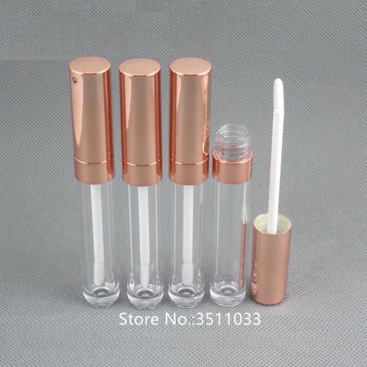 30 Uds 6ML tubo de brillo de labios vacío oro rosa DIY plástico elegante lápiz labial líquido envase redondo elegante brillo de labios botella tubo