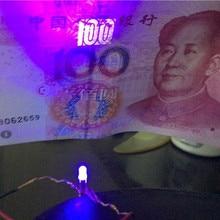 50pcs UV lampe à LED Diode Lampada LED Carro Dido lumière UV Diod Alto Brilho Lampadas 3mm lampe UV Diodes ultraviolettes LED 3mm bricolage