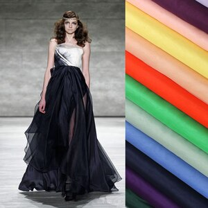 138CM Wide 6MM Thin Solid Color Silk Organza Fabric for Bubble Dress Clothes Evening Dress Wedding Dress B002