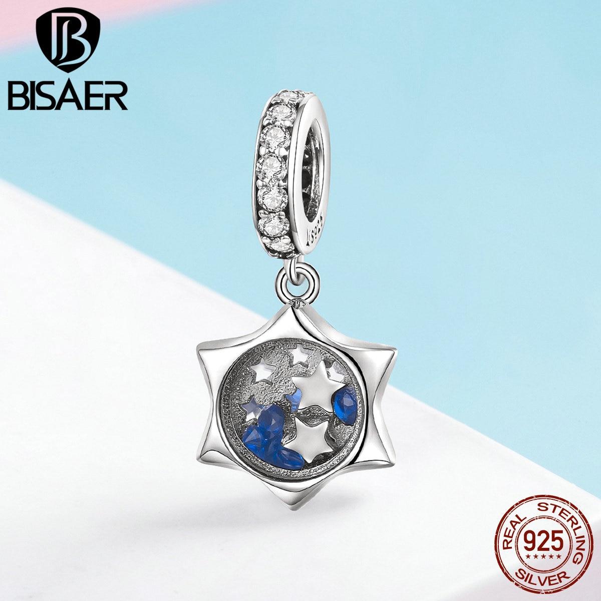 BISAER Plata de Ley 925 auténtica estrella floreciente claro CZ pulseras de dijes con encaje de cuentas y brazaletes plata 925 fabricación de joyas ECC1083