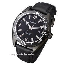 45mm Parnis black dial PVD Sapphire Glass Ceramic Bezel Automatic mens Watch 305