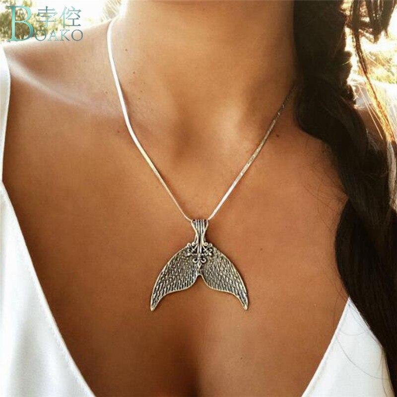 BOAKO collar de cola de ballena para mujer, collar de cola de sirena, collares de pez de amor, joyería, collar de Collier Kolye
