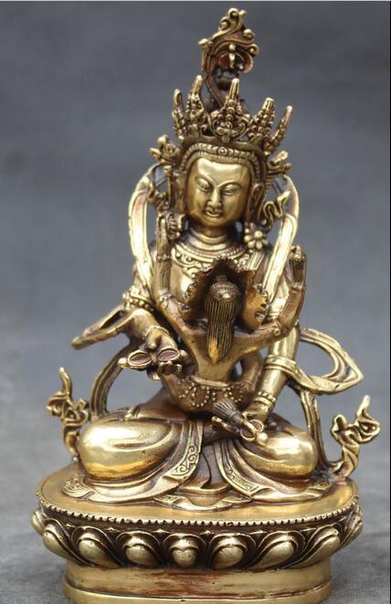 "Gratis 7 ""tibet, budismo asiento de bronce loto flor Mandkesvara Yab Yum estatua de Buda rápido"