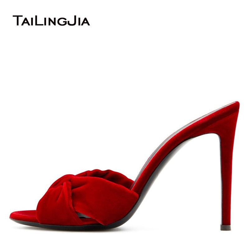 Черные бархатные женские сандалии на высоком каблуке с узлом; Красные шлепанцы с открытым носком на высоком каблуке; Женские летние туфли н...