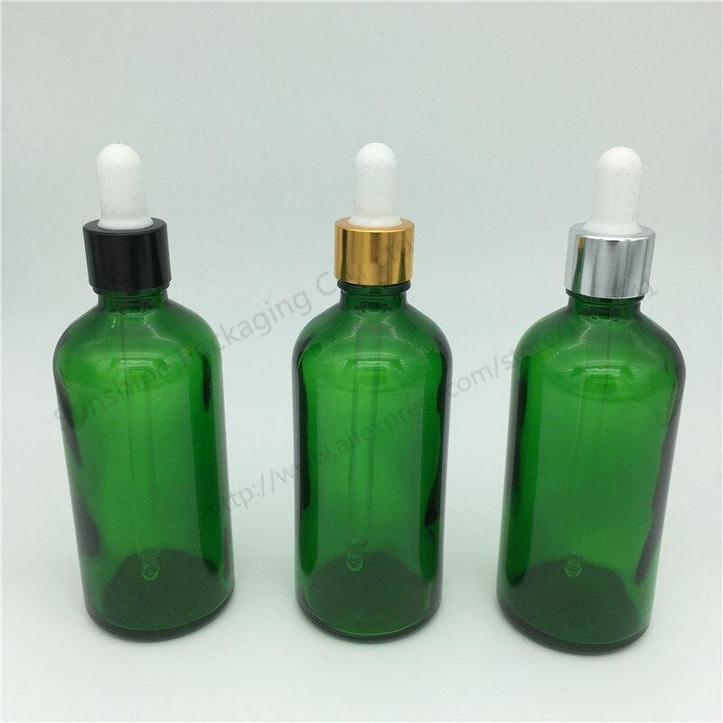 Venda quente 500 pçs/lote 100 ml vidro verde reagente líquido pipeta garrafa olho gotas aromaterapia, garrafa de óleo essencial