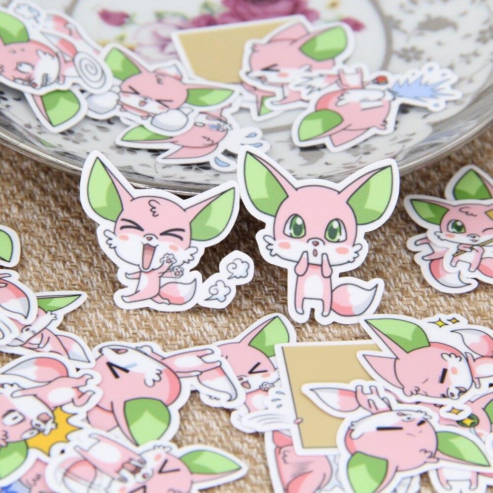40 stks/set leuke groene oren kleine vos boek scrapbooking bubble boei stickers stickers kawaii uitdrukking kinderspeelgoed