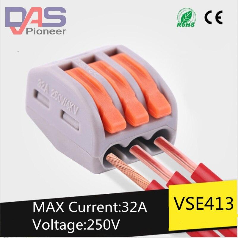 100 Uds 213Universal compacto cable cableado conector 3 pin Conductor Terminal bloque con palanca AWG 28-12