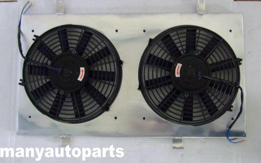 Cubierta de radiador de aluminio + ventilador para Nissan Skyline R33 R34 GTR GTST RB25DET MT