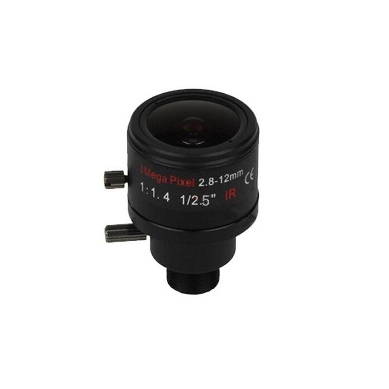 (No IR filter)3 Megapixel Fixed Iris M12 HD 2.8-12mm Varifocal cctv IR camera lens,F1.4,manual focus zoom,view angle 90~28degree