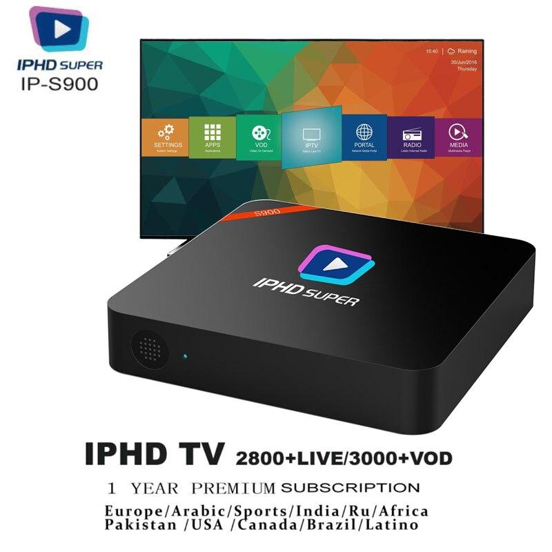 S900 IPTV BOX Suscripción de Iptv Incloud 2800 + canales en vivo/3000 + VOD servicio gratuito de un año incluido europa IPTV/IPTV árabe