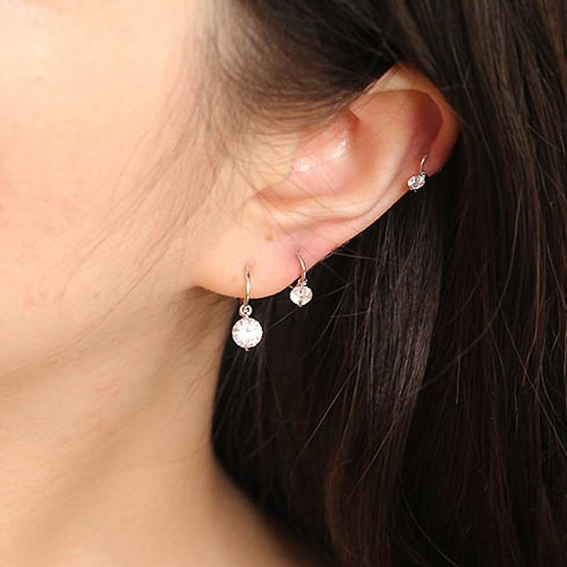 Iemdelicado brincos de argola de zircônia cúbica, para mulheres, minimal, piercing de cartilagem, brincos pequenos de cz