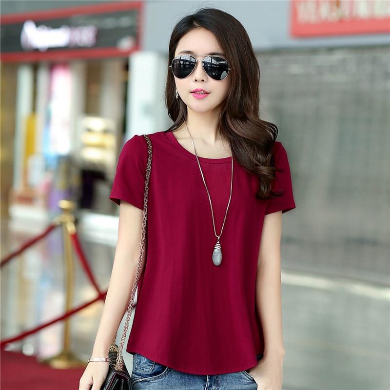 Женская футболка с коротким рукавом, простая Однотонная футболка в Корейском стиле с круглым вырезом на лето и осень