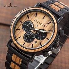 Часы BOBO BIRD P09 из дерева и нержавеющей стали, мужские часы с секундомером, светящиеся наручные часы, Прямая поставка