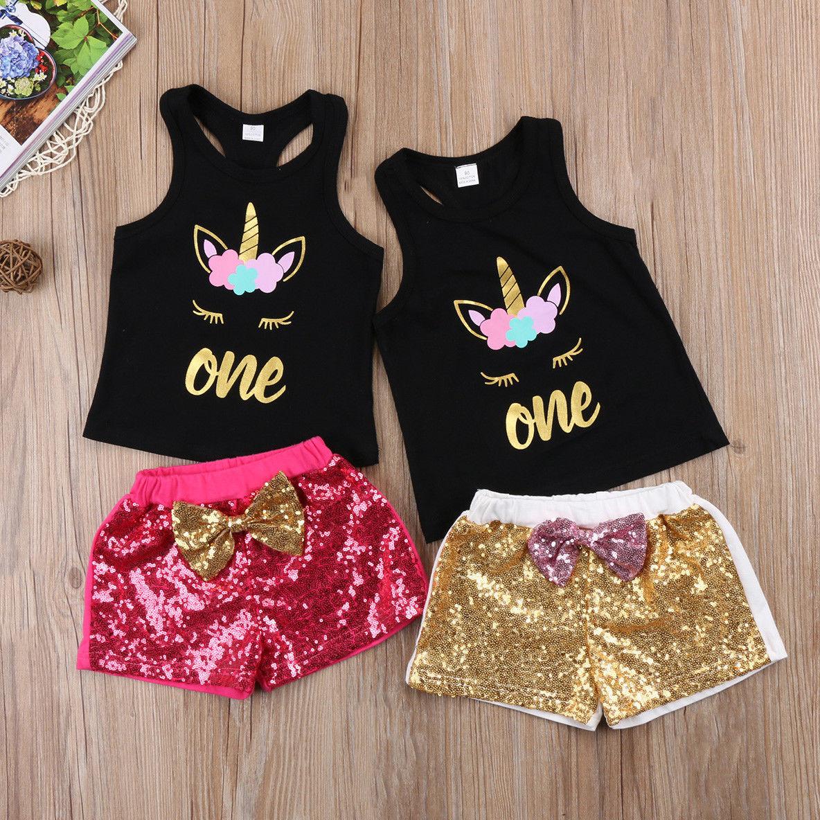 Emmababy Zomer Peuter Kids Baby Meisjes Kleding Eenhoorn T-shirt Tops Shorts Pailletten Baby 2 STUKS Outfits Baby Kleding Leuke Set