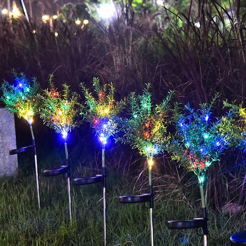 2 шт., 15 светодиодов, на солнечных батареях, имитация рождественской елки, форма, лужайка, лампа, цвета, садовый патио, Landschap Gazon, светильник, Рождественская елка