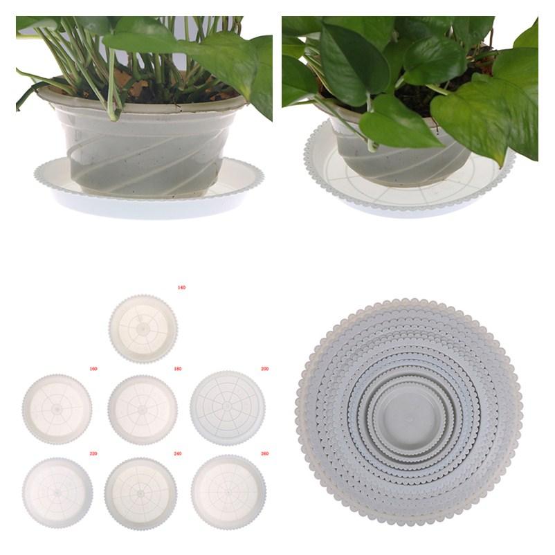 MENGXIANG 1Pc Creative Plastic Round Flower Pots tray Hydroponic Aquarium Insert Plants Growth Flower Pot Tray Garden Supplies