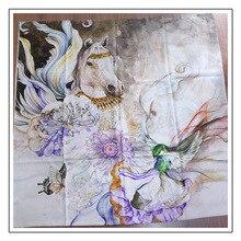 Écharpe cheval volant pour femme   Écharpe femme en cachemire pur 300s, foulards dhiver, écharpe enveloppe chaude, 200x100cm