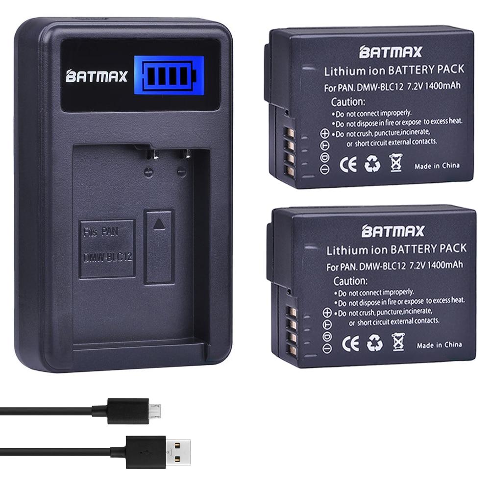 2 шт. DMW-BLC12 DMW-BLC12E BLC12 батарея + USB LCD зарядное устройство для Panasonic Lumix DMC-FZ200, FZ300, FZ1000, FZ2500, G5, G6, G7, GX8, G85
