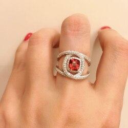 1 pçs clássico quadrado vermelho cristal redondo irregular cruz fêmea anel conjunto requintado festa de noivado anel jóias