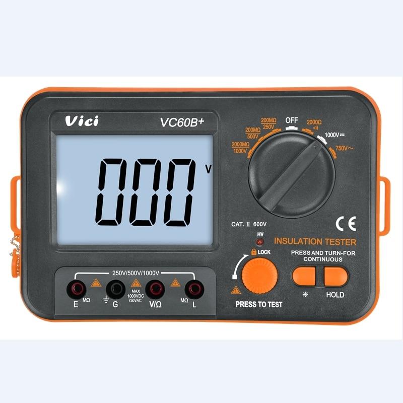 Цифровой тестер изоляционного сопротивления VC60B +, мегометр VICI, Высоковольтный, 250 В, 500 В, 1000 В, сигнализация о коротком замыкании