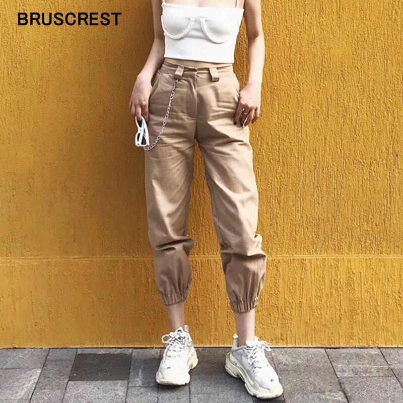 Primavera cadena vintage negro cargo Pantalones mujer alta cintura pantalones joggers pantalones holgados mujeres streetwear de talla grande