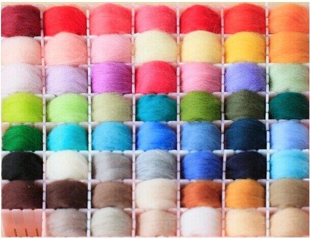 Mezcla de 36 colores de lana Merino, fibra para aguja de fieltrado, hilado a mano, DIY, muñeca divertida, lana de bordado, hilado 5g/bolsa 66s