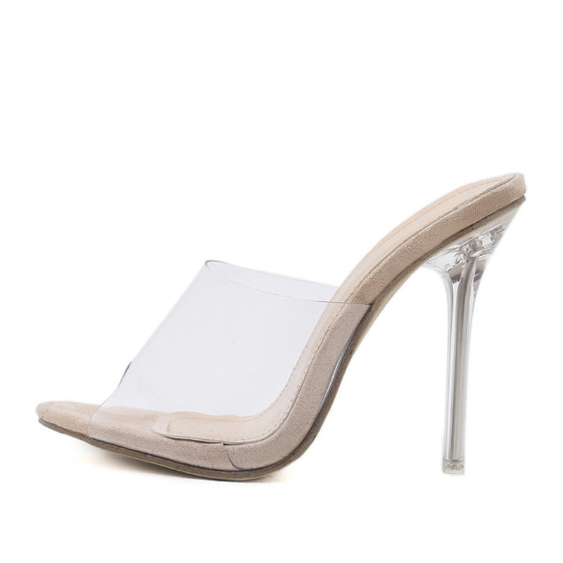 Eilyken 2020 PVC Jelly Sandals Open Toe High Heels Women Transparent Perspex Slippers Shoes Heel Clear Sandals size 35-42