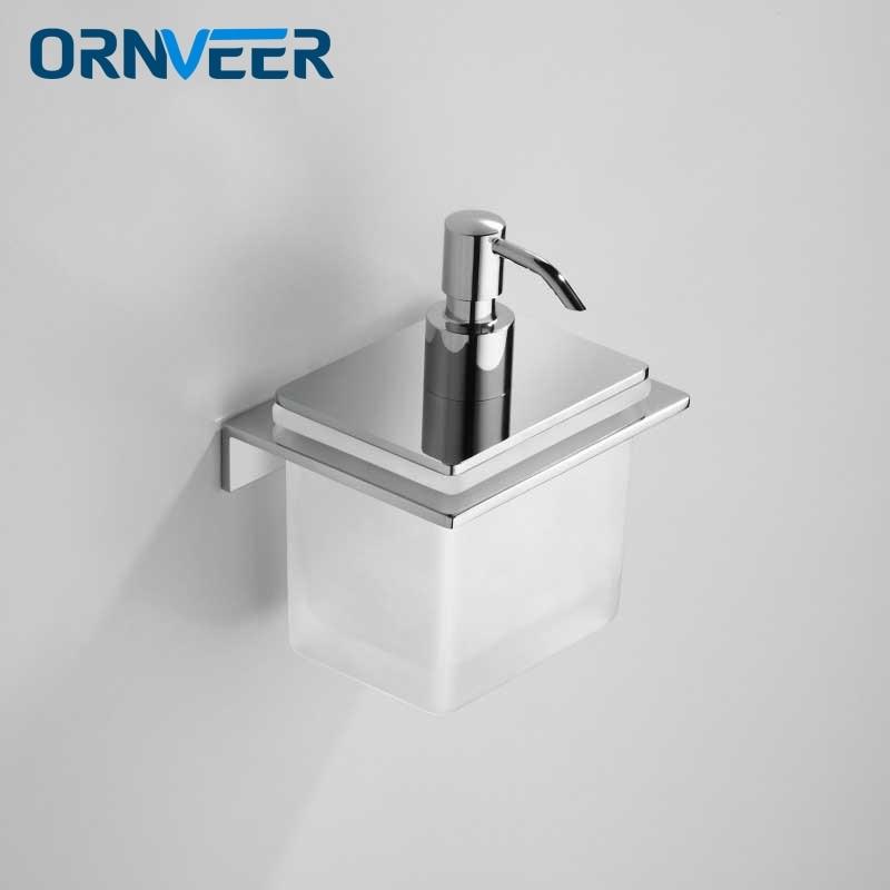 Envío Gratis soporte de jabón líquido cromado moderno montado en pared de latón retro cerámica accesorios de baño manual jeringa pistola dispensador
