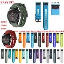 JKER 26 22MM Watchband for Garmin Fenix 5 5X 5S 3 3 HR for Fenix 6X 6 6S 시계 퀵 릴리스 실리콘 Easyfit 손목 밴드 스트랩