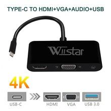 USB C Type C vers HDMI VGA 3.5mm adaptateur Audio 3 en 1 USB 3.1 USB-C câble de convertisseur pour ordinateur portable Macbook Google
