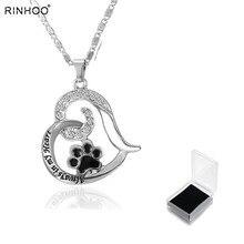 Patte imprimé coeur Animal amant pendentif collier Animal souvenir bijoux à breloques Animal commémoratif bijoux toujours dans mon coeur chien chat pied